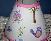 ON SALE Lampshade Kids Hayley Owl handmade with Pottery Barn Kids fabric, Lamp Shade, Any Color Trim, 4 Sizes
