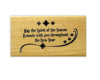 Spirit of the Season mounted Christmas rubber stamp, holidays, greeting card sentiment, Sweet Grass Stamps No.19