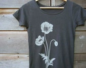 Womens Graphic T Shirt - Organic Cotton Jersey T Shirt - Womens Tee Shirt - Grey Tee Shirt - Ladies Screen Printed TShirt- Poppy T Shirt