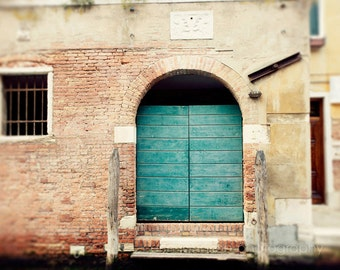 door photography, venice, italy photography, europe art, aqua blue decor, brick decor, architecture, travel photography, The Aqua Door V11