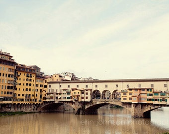 florence italy, europe photograph, travel, italy photo, europe, italian decor, yellow wall art, arno river, bridge, Ponte Vecchio