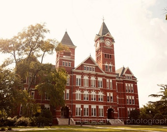 Back to School Samford Hall Auburn, Alabama  Architecture Photograph Brick building college campus orange decor Auburn University
