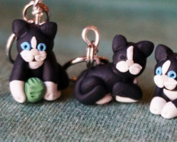 Tuxedo Cat Stitch Markers (set of 4)