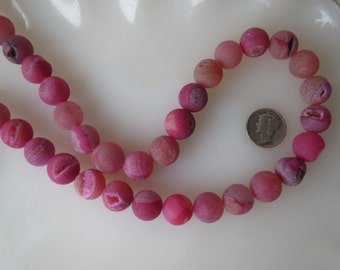 Natural Pink Druzy Crystal Agate 12mm Round Beads Half Strand