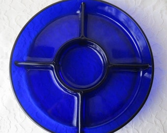 Vintage Cobalt Blue Glass Divided Serving Tray, Arcoroc Made In France, 9 - 3/4 Inches Diameter