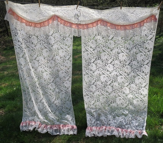 Vintage White Lace Shower Curtain with Swag and Peach Accent