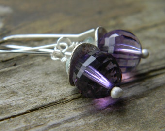 SALE sparkling amethyst earrings - sterling silver
