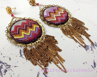 dancing on the playa - cinnamon flamestitch embroidery inspired boho fringe  earrings