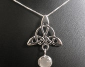 925 Celtic Trinity Knot Moonstone Pendant Necklace with 18 inch Sterling Silver Box Chain, Sterling Silver, 8mm Moonstone, Handmade Celtic