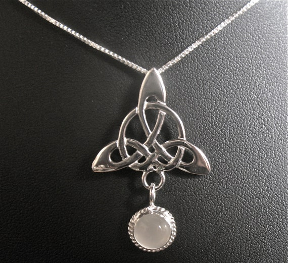 925 Celtic Trinity Knot Moonstone Pendant Necklace with by ...