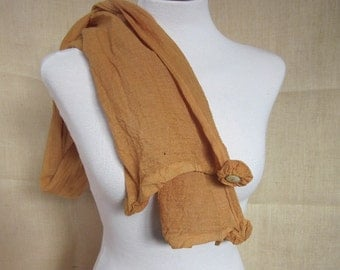 Hand Dyed Onion Brown Cotton Rosette Scarf