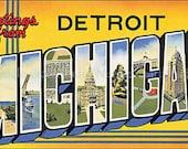 Vintage Detroit, Michigan Post Card Cotton Fabric Quilt Block