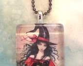 Halloween Witch Pendant Necklace - Handmade - Glass Tile - Fantasy Art by Molly Harrison