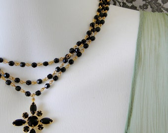 Jet Black Swarovski Victorian Layered Rosary Necklace