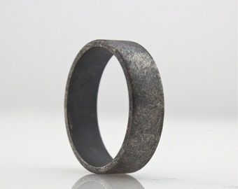 Wide Sterling Silver Ring - Mens Wedding Band  - Roughed Up Mens Wedding Ring - 6 mm Oxidized Band - Simple and Modern Design - Rough