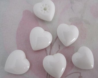 15 pcs. vintage glass white milk heart cabochons 13x13mm - f4090