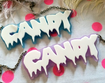 Candy Necklace in White and Lilac or Blue Acrylic