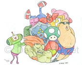 Katamari Damacy Video Game Mash-Up - Original Fan Art Illustration
