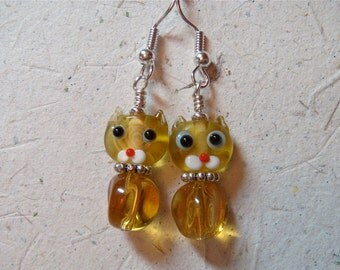 Meow Purr Mew Kitten Cat Transparent Amber Topaz Glass Earrings with Silver