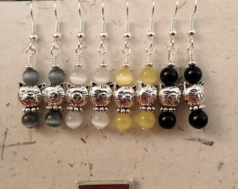 Choose Your Color Silver Kitty Cat Face Earrings with Glass Cats Eye Beads