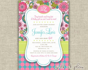 Mod Baby Shower Girl Invitation Invite Modern Flowers Monogram Turquoise Pink Dots - Printable DIGITAL - by girls at play girlsatplay