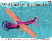 """HOW does a PLANE FLY?  No one knows!   Signed art print, 8x10"""" Flight series for your favorite science or engineering nerd"""