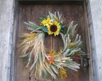 NANALA   WREATH  sunflower autumn  decoration for door or wall  FREE SHiPPiNG
