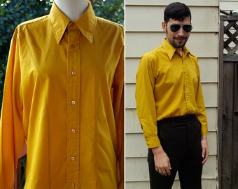 MUSTARD Yellow 1960's Men's Vintage MOD Button Down Shirt with Long Sleeves // Mach II by Arrow // size Medium 16 32