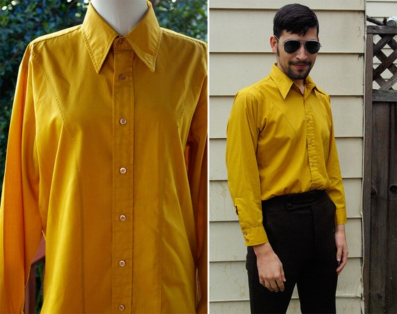 Mustard yellow 1960 39 s men 39 s vintage mod button down for Mustard stain on white shirt