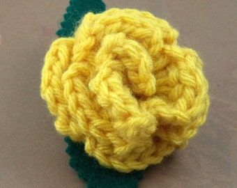Crocheted Rose Ponytail Holder or Bracelet - Yellow (SWG-HP-HWHU01)