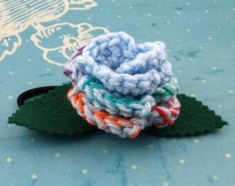 Crocheted Rose Ponytail Holder or Bracelet - Light Blue and Rainbow (SWG-HP-MPRD02)