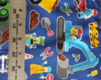 Everything is Awesome Lego Construction People  on Blue Timeless Treasures Quilters Cotton 1 Yard HTF