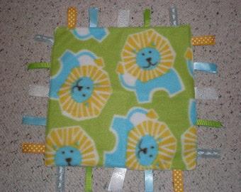 Cute Lion Print Baby Sensory Taggie Blanket