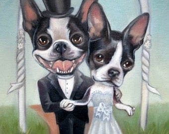 Boston Terrier Wedding Print