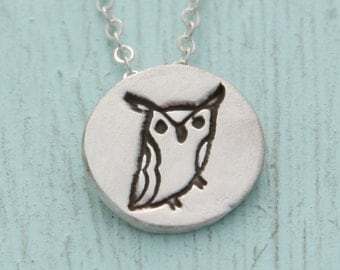 tiny silver HORNED OWL pendant necklace, illustration by BOYGIRLPARTY , eco-friendly silver.  Handcrafted by Chocolate and Steel.