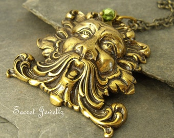 Green Man Brass Necklace - Spirit Of the Forest - Nature Spirit - Spring Pendant - Folklore - Renewal And Growth - Avalon Mythology