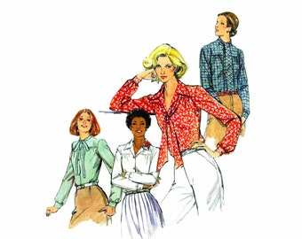 1970s Misses Front Button Blouse Butterick 5524 Vintage Sewing Pattern Tie Collar Blouse Size 10 Bust 32 1/2