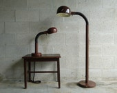 Vintage Mid Century Modern Brown Gooseneck Table Lamp and Floor Lamp Matching Set