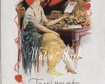 VALENTINE girl writes love letter.Instant digital download, Tags.cards, collage,sewing and so much more