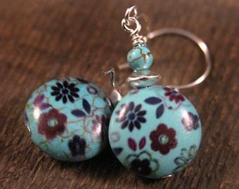 Turquoise stone beads with flower design and silver handmade earrings