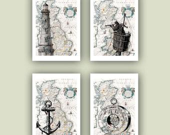 Nautical Print, Ocean Anchor, lighthouse, compass, sailor, sailing, old Britannia map, Nautical art, Coastal  seashore Print,  4 Print 5x7
