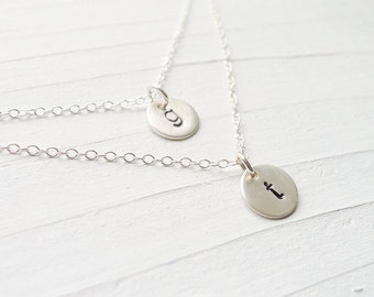 Double Layer Necklace Silver 2 initial Monogram Neckalce Double Initial Necklaces Sterling Silver Lowercase Charms Dainty Jewelry