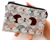 Hedgehog Love Little Zipper Pouch Coin Purse Gadget Case ECO Friendly Padded