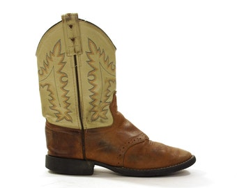 Kids Leather Cowboy Boots / Vintage 1980s Two Tone Leather Western Riding Boots / Youth Size 13 / Women's size 6