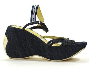 SALE Grunge Denim Platforms / Vintage 1990s Strappy Wedge Sandals / Women's Size 38 / 8
