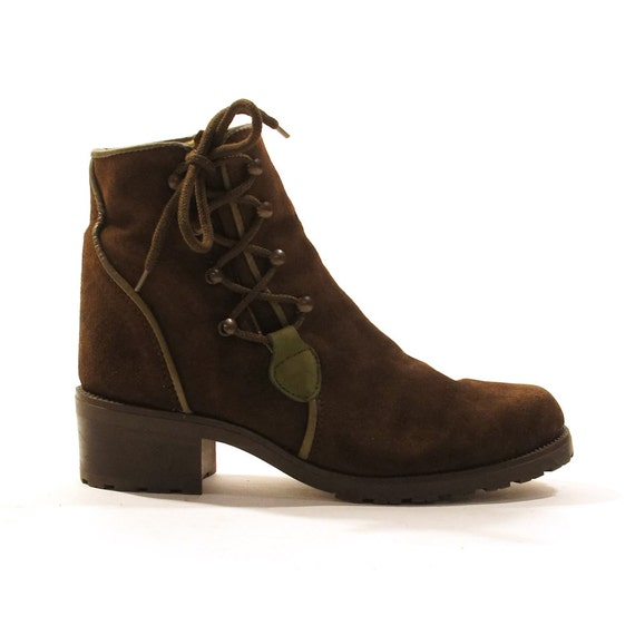 lace up ankle boots brown suede side lace by