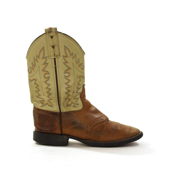 leather cowboy boots vintage 1980s two tone leather