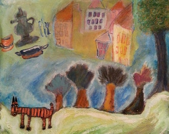 """Original painting, """"Traveling in the Land of Fairytales"""", pen and ink, oil pastel, acrylic on canvas paper"""