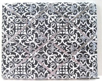 Black Gray Paisley Damask Memory Board French Memo Board,Fabric Ribbon Bulletin Board,Fabric Photo Board,Ribbon Pin Board,Bedroom Decor