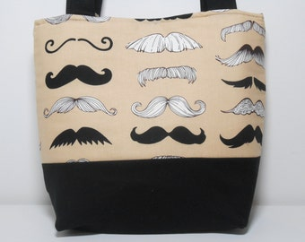Mustache Tote Bag with Pockets Medium handbag Shoulder Strap Medium Black Mustache Bag